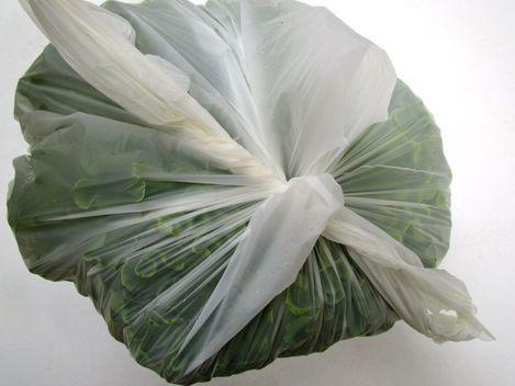 Emballer la salade dans un sac