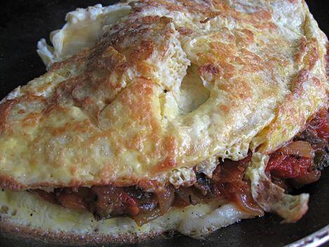 omelette fourrée à la ratatouille